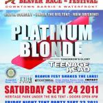 Platinum Blonde and Teenage Head Announced for 2011 Barrie Beaver Festival Powered By Impact Live - Proceeds In Support Local Barrie Charities!
