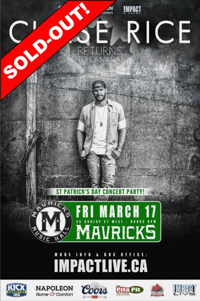 CHASE RICE St. Paddy's Day Concert Party SOLD-OUT!
