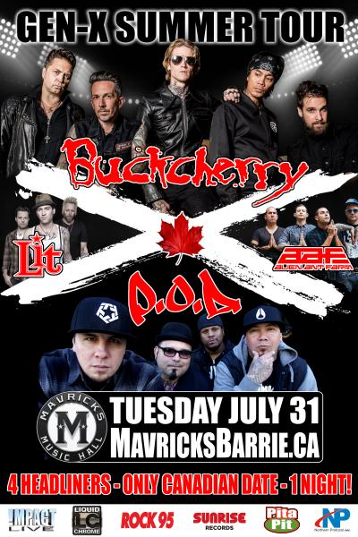 BUCKCHERRY, P.O.D., LIT & ALIEN ANT FARM Gen-X Summer Tour 2018